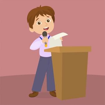 En el atril dando un discurso