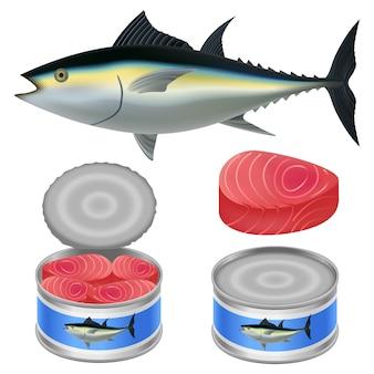 Atún pez puede filete conjunto de maquetas