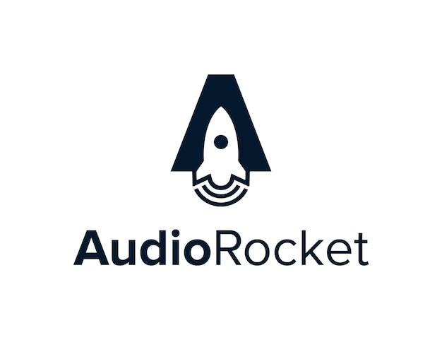 Audio de cohete espacial negativo con letra un diseño de logotipo moderno geométrico elegante creativo simple