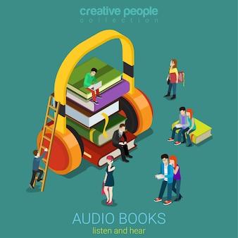 Audio libros flat d concepto de biblioteca electrónica isométrica