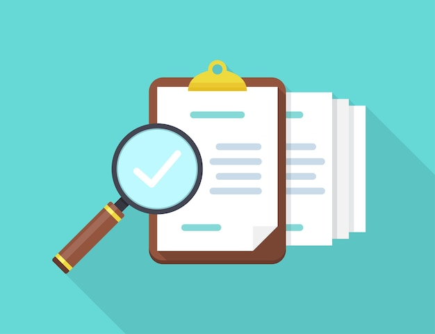 Audite documentos con lupa y verifique en un diseño plano con sombra larga