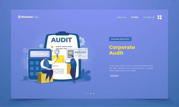 Auditoría corporativa empresarial en la página de destino