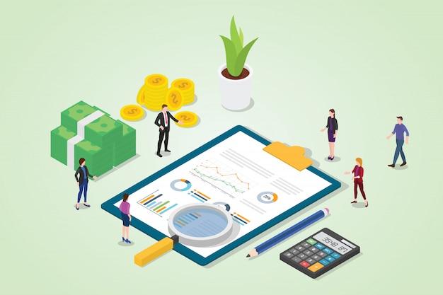 Auditoría financiera con informe de negocio gráfico financiero.