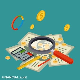 Auditoría financiera plana isométrica vector concepto ilustración