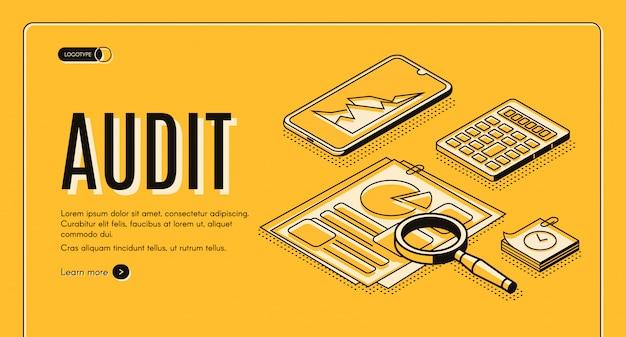 Auditoría financiera web en línea vector isométrico vector banner, landing page.
