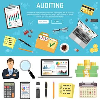 Auditoría, impuestos, banner de contabilidad empresarial e infografías con carpeta de iconos de estilo plano, computadora portátil, gráficos y papelería. aislado