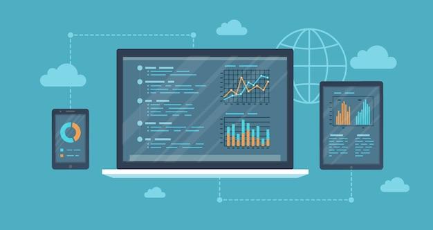Auditoría en línea, concepto de análisis. servicio web y móvil. informes financieros, gráficos gráficos en pantallas de una computadora portátil, teléfono, tableta. bandera de fondo empresarial.