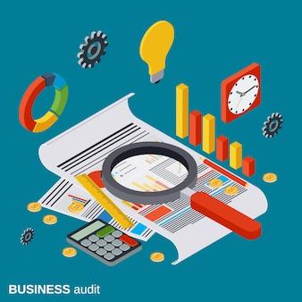 Auditoría de negocios plana isométrica vector concepto ilustración