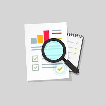 Auditoría o investigación fiscal o lista de páginas en papel a través de la lupa icono de vector de dibujos animados plana