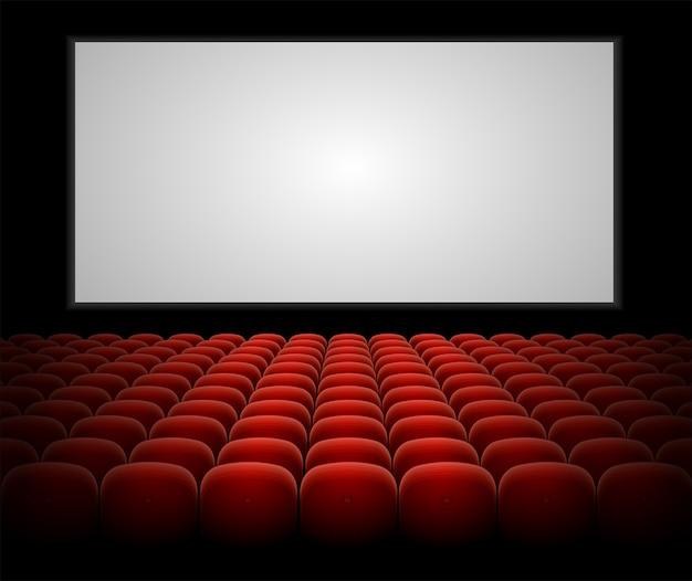 Auditorio de cine con asientos rojos