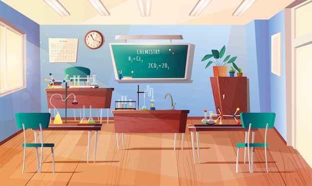 Aula de asignatura de química. interior de dibujos animados con pizarra, reloj en la pared, escritorios, mesa de profesor, libros, tubos de ensayo, equipo para experimentos, matraces.