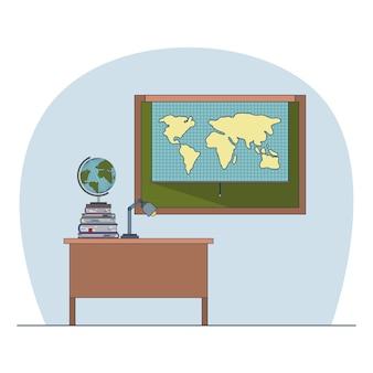 Aula con escritorio con libros y pizarra con mapa mundial
