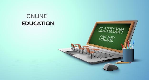 Aula digital en línea para el concepto de educación y espacio en blanco en la computadora portátil