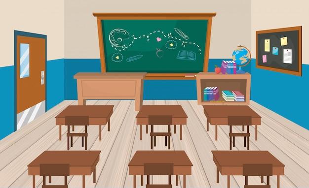 Aula de educación con escritorios y libros con pizarra.