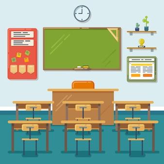 Aula escolar con pizarra y pupitres. clase de educación, pizarra, mesa y estudio, pizarra y lección. ilustración vectorial plana