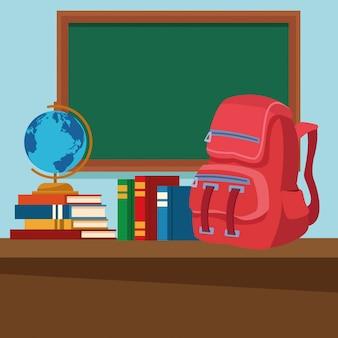 Aula de escuela con escritorio y pizarra.