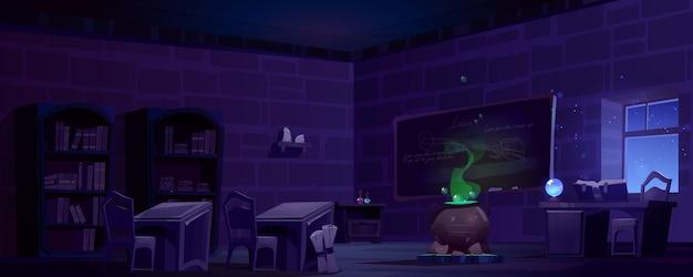 Aula de la escuela de magia con caldero en la noche