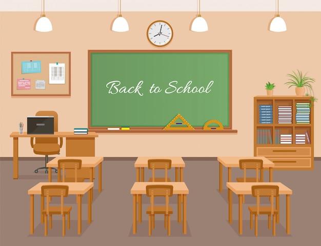 Aula de la escuela con pizarra, pupitres y lugar de trabajo del maestro. diseño de interiores de sala de clase escolar
