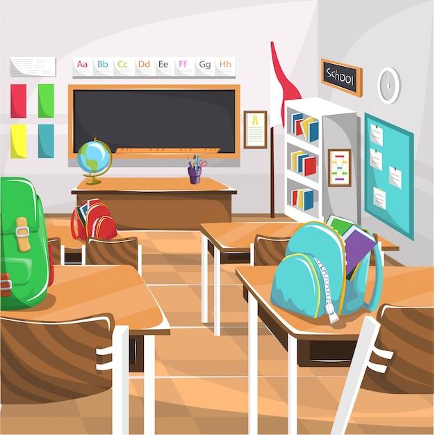 Aula de escuela primaria con pizarra