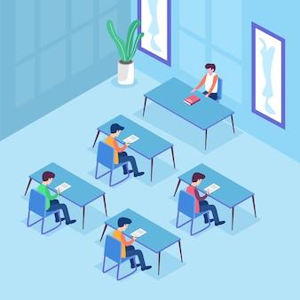 Aula de examen de estudiantes en sus escritorios escribiendo un examen