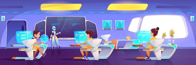 Aula futurista con niños y profesor de robot