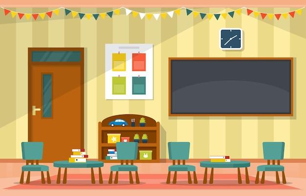Aula interior educación primaria kindergarten niños escuela ilustración