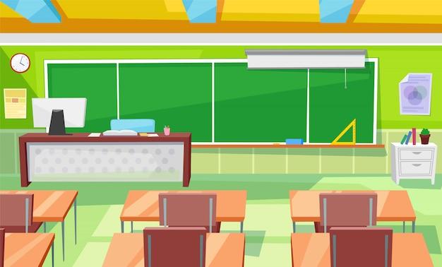 Aula interior de la sala de clases con mesa de profesor