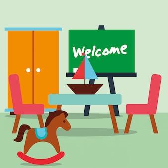 Aula kinder caballo mecedora velero pizarra texto de bienvenida