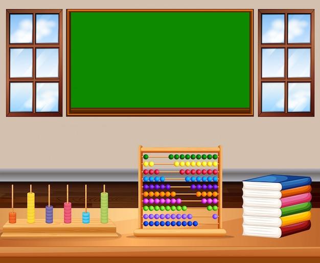 Aula con tabla y libros.