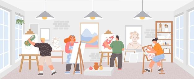 Aula de taller con artistas pintando obras de arte sobre caballetes. pintores hombre y mujer. estudio de cursos de dibujo creativo, cartel de vector de clase de pintura. ilustración del estudio de clase de artista, educación de pasatiempos.