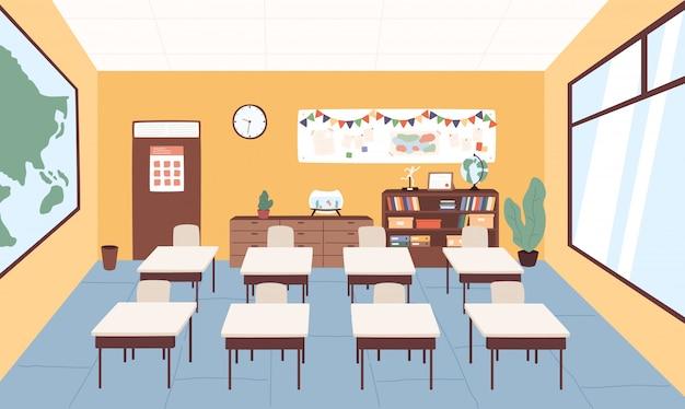 Aula vacía en la ilustración gráfica de vector de escuela primaria