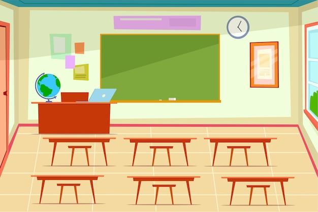 Aula vacía. interior de la sala de clase con escritorio y sillas para niños y maestros, pizarra verde en la pared, computadora portátil y globo en la mesa de los maestros, ilustración de dibujos animados plana de la escuela o la universidad moderna