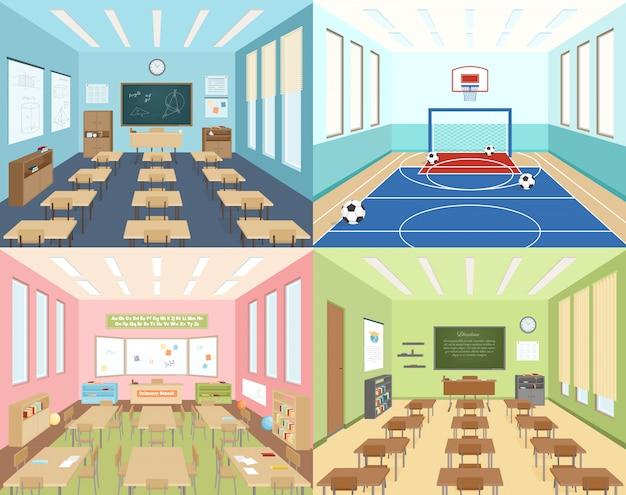 Aulas escolares y sala de deporte.