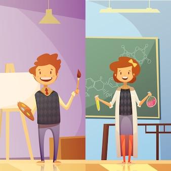 Aulas de la escuela primaria y secundaria con niños sonrientes 2 pancartas de educación de estilo de dibujos animados verticales