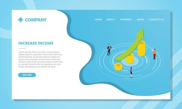 Aumente el concepto de ingresos para la plantilla de sitio web o el diseño de la página de inicio de aterrizaje