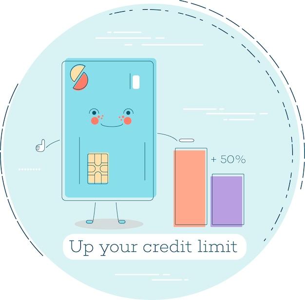 Aumente su concepto de moda de límite de crédito en estilo de arte lineal. banca y finanzas, signo de servicio de comercio electrónico, tecnología empresarial, símbolo de comercio minorista y comercial. ilustración de personaje divertido de tarjeta de crédito