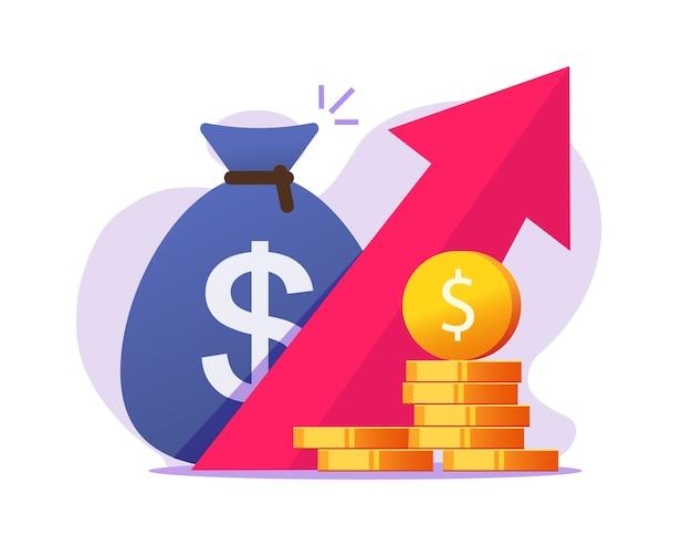 Aumento del crecimiento de las ganancias monetarias, beneficio en efectivo, aumento de la inflación económica