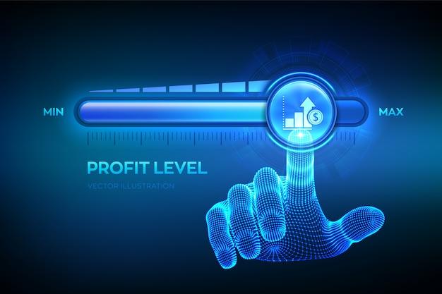 Aumento del nivel de beneficios. la mano está tirando hacia la barra de progreso de la posición máxima con el ícono de ganancias.