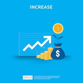 Aumento de la tasa salarial. gráfico de negocios ingresos por margen de crecimiento gráfico. rendimiento financiero del retorno de la inversión concepto de roi con elemento de flecha diseño de estilo plano