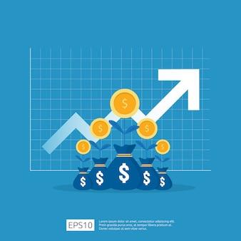 Aumento de la tasa salarial. ingresos de margen de crecimiento de beneficios empresariales. rendimiento financiero del retorno de la inversión concepto de roi con flecha. icono de venta de costo. estilo plano de símbolo de dólar