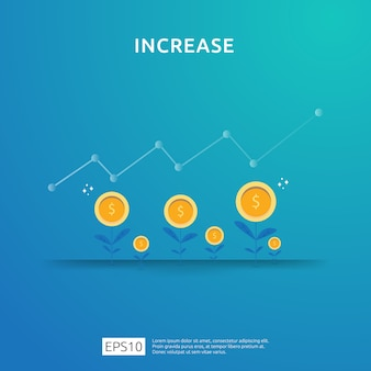 Aumento de la tasa salarial. rendimiento financiero del retorno de la inversión concepto de roi con flecha. ingresos de margen de crecimiento de beneficios empresariales. icono de venta de costo. ilustración de estilo plano de símbolo de dólar