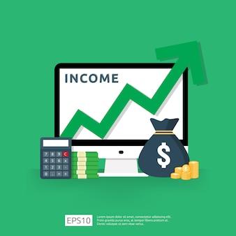 Aumento de la tasa salarial. rendimiento de ingresos financieros del retorno de la inversión concepto de roi con flecha.