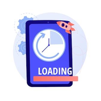 Aumento de la velocidad de carga. navegador de internet rápido, tecnología en línea moderna, tiempo de descarga acelerado. optimización del rendimiento del teléfono inteligente, ilustración del concepto de mejora