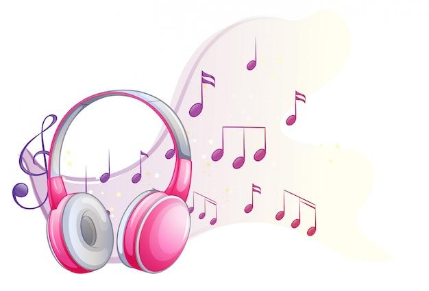 Auricular rosa con notas musicales en el fondo