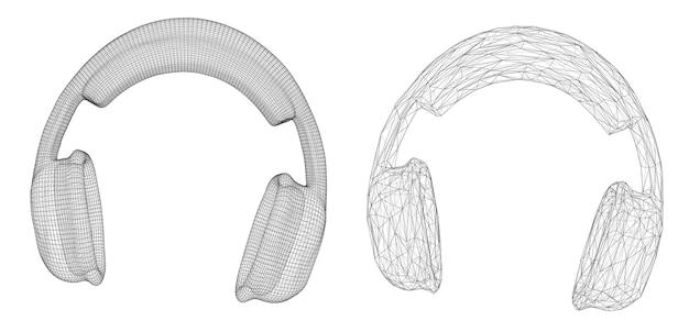 Auriculares 3d aislados sobre fondo blanco. diseño musical