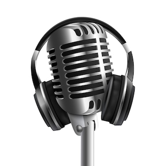 Auriculares: auriculares de estudio de sonido con micrófono realistas. dispositivo de equipo de transmisión de radio y música de audio.