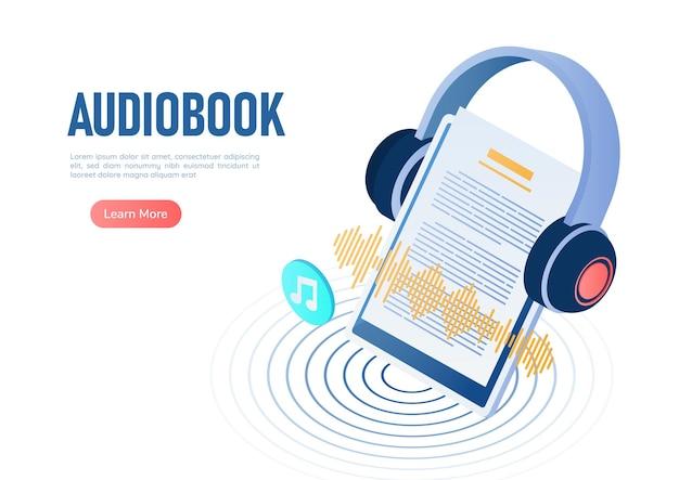 Auriculares de banner web isométrico 3d sobre tableta digital con onda de sonido de libro de audio digital en el monitor. concepto de audiolibros.