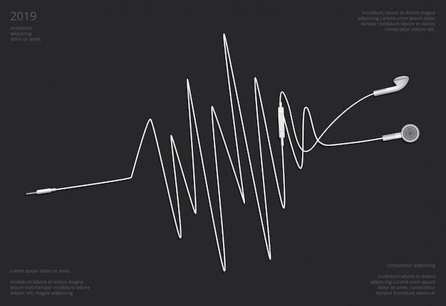Auriculares conceptuales con ilustración vectorial de teléfono