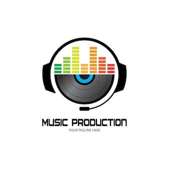 Auriculares de dj, grabación de estudio de música, logotipo de soundwave