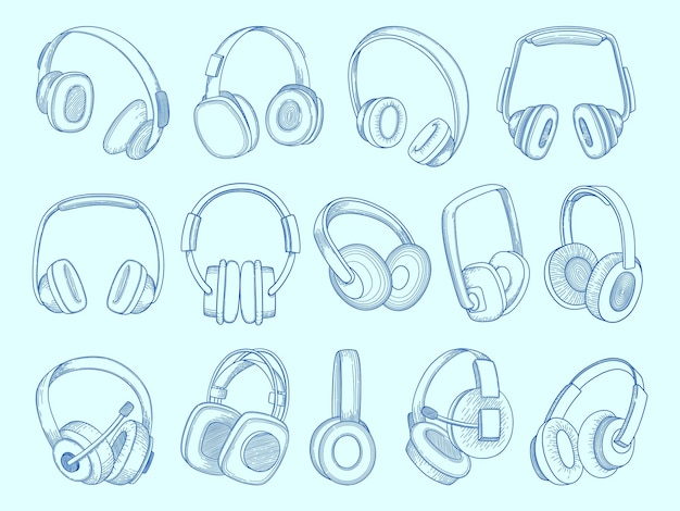 Auriculares. equipo de comunicación de tecnología inalámbrica, auriculares acústicos de música, conjunto de bocetos.